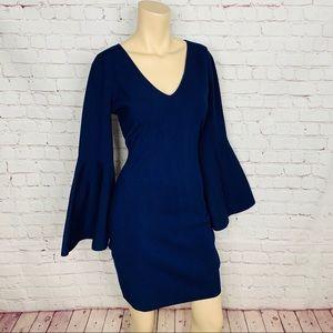 MILLY Designer Bell Sleeve Mini Dress Navy Blue L